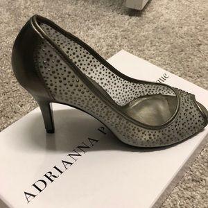 Mesh with stones gun metal shoes
